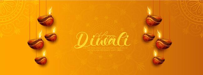 Fototapeta Happy Diwali With Illuminated Oil Lamps On Glossy  Background For Happy Diwali Celebration obraz