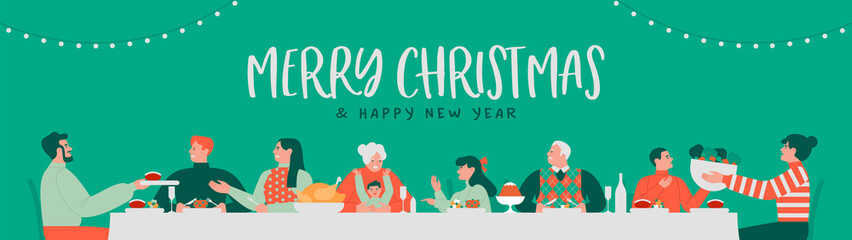 Obraz Christmas new year family dinner party banner - fototapety do salonu