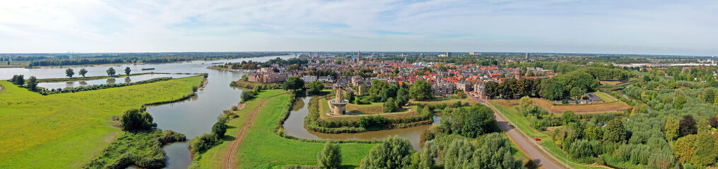 Fototapeta Aerial panorama from the historical city Gorinchem at the Merwede in the Netherlands obraz