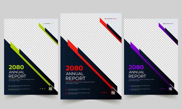 Simple business annual report brochure template design.