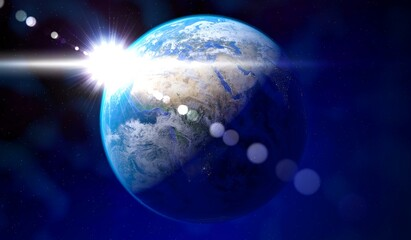 Earth - view from space at Europe and Africa, sun glare. Elements of this image furnished by NASA - 3D illustration