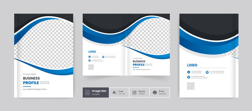 Corporate abstract brochure cover page annual report book cover business profile design template elegant modern editable text and vector design layout