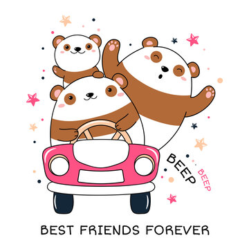 Cute traveler friends rides in the car. Three adventurers pandas by car. Inscription Best friends forever. Can be used for poster, print, t-shirt design. Vector illustration EPS8