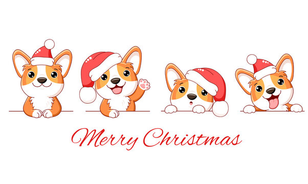 Christmas set of cute corgi dog. Borders with kawaii welsh corgi puppy in Santa hats. Xmas collection of dogs with different emotion - funny, happy, surprised, sticking out tongue. Vector EPS8