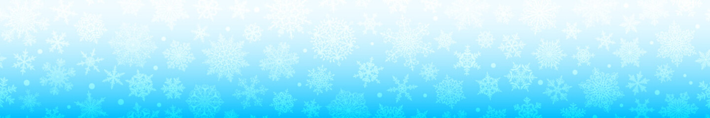 Fototapeta Christmas horizontal  banner of big and small complex snowflakes with seamless horizontal repetition, in light blue colors. Winter background with falling snow obraz