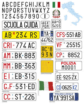 Various and special Italian car license plates, Italy, vector illustration