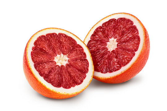 Blood red oranges isolated on white background with clipping path and full depth of field