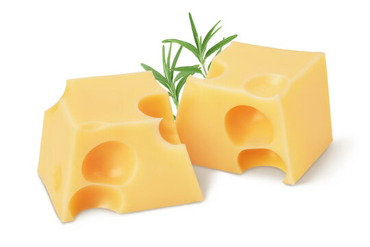 cubes of cheese in wooden bowl isolated on white background with clipping path and full depth of field