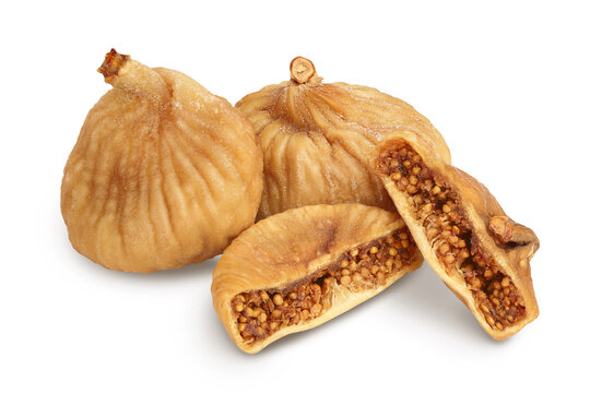 dried fig isolated on white background with clipping path and full depth of field