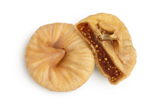 dried fig isolated on white background with clipping path and full depth of field. Top view. Flat lay