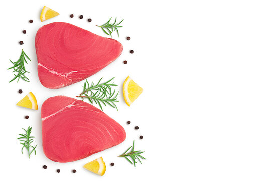 Fresh tuna fish fillet steak isolated on white background with clipping path. Top view with copy space for your text. .Flat lay