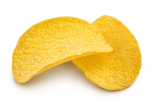 Potato chips isolated on white background with clipping path and full depth of field.