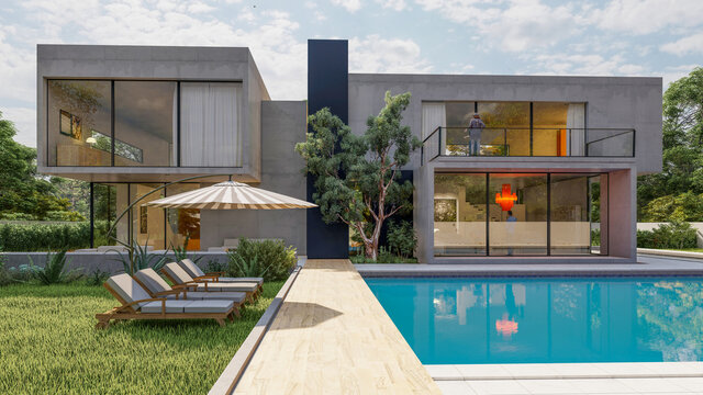Big contemporary villa with garden and swimming pool