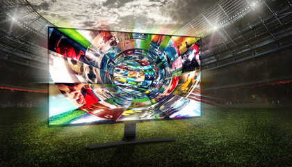 Fototapeta Streaming of soccer images on the internet in a digital cable obraz