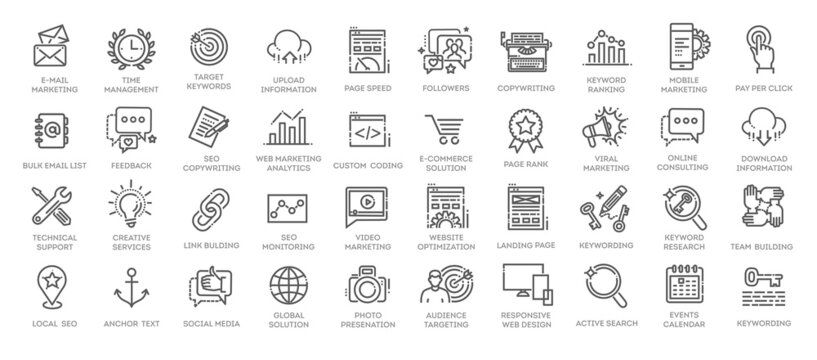 Outline web icons set - Search Engine Optimization. Thin line web icon collection.