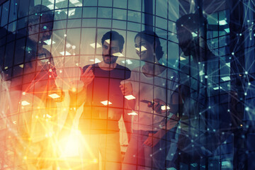 Fototapeta Background concept with business people silhouette at work. Double exposure and light effects obraz
