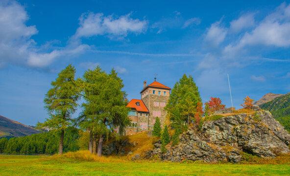 Crap da Sass Castle on Lake Silvaplana