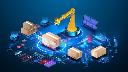 Fototapeta Smart warehouse technology. AI manages a smart warehouse. Future concept of supply chain and logistic business.  Robot Palletizing Systems, Robotic arm loading and scan cartons on pallet. Isometric obraz
