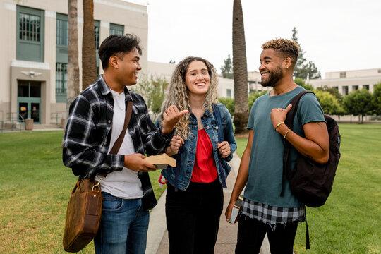 International students at university campus