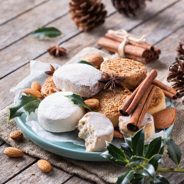 Typical Spanish Christmas sweets, shortbread mantecados and polvorones