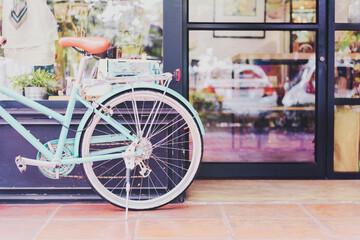 Coffee shop and bike, white tone filter