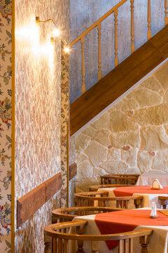 empty restaurant interior. classic design with wooden furniture