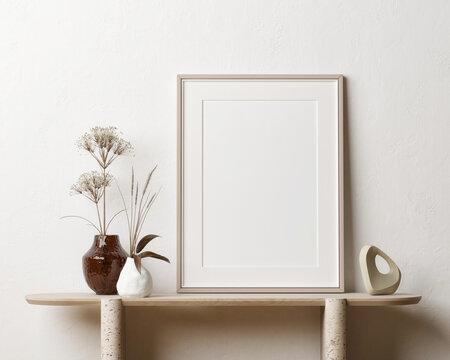 Mock-up poster design with home decoration on the desk, 3d illustration