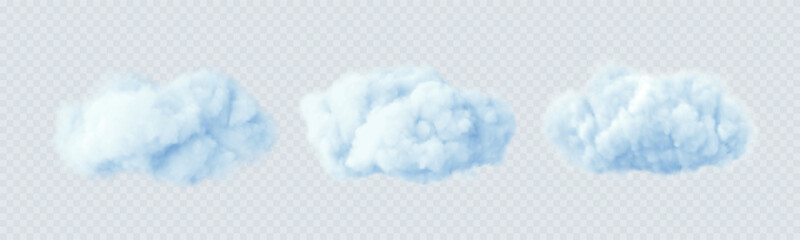 Fototapeta Blue clouds isolated on a transparent background. 3D realistic set of clouds. Real transparent effect. Vector illustration obraz