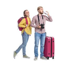 Fototapeta Couple of tourists on white background obraz