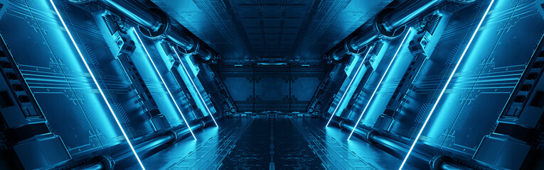 Obraz Blue spaceship interior with neon lights on panel walls. Futuristic corridor in space station background. 3d rendering - fototapety do salonu