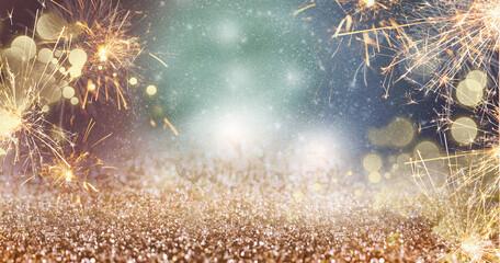 Fototapeta Background of sparkling lights and glitter obraz