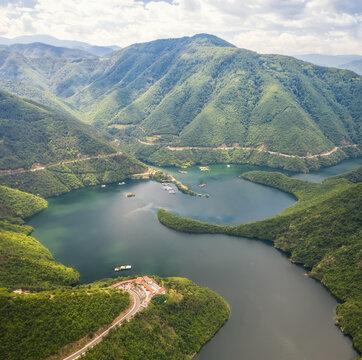 Aerial panoramic view of Vacha Dam in Rhodope Mountain, Bulgaria
