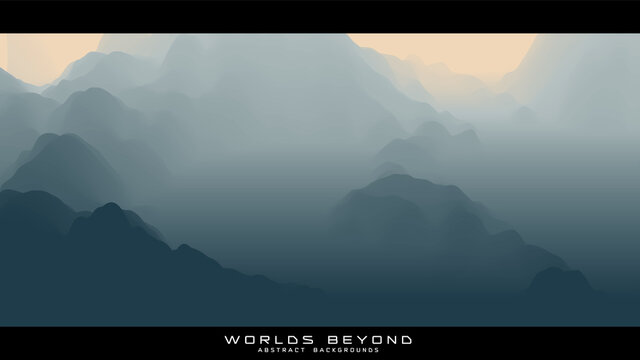 Abstract gray landscape with misty fog till horizon over mountain slopes. Gradient eroded terrain surface. Worlds beyond.