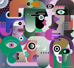 Large group of various people abstract modern art graphic illustration. Portrait of six strange adult persons.