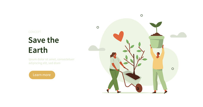 People characters planting trees and plants seedlings. Characters trying to save planet earth from climate change. Environmental care and volunteerism concept. Flat cartoon vector illustration.