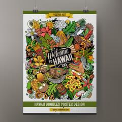 Fototapeta Cartoon vector doodles Hawaii poster template. obraz