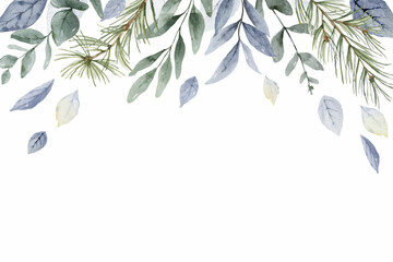 Fototapeta A watercolor vector winter banner with dusty blue leaves and branches. obraz