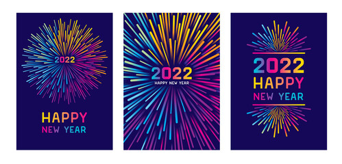 Fototapeta Colorful fireworks 2022 New Year vector illustration, bright on dark blue background, text Happy New Year. Flat style abstract, geometric design. Concept for holiday decor, card, poster, banner obraz