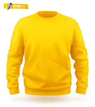 Vector realistic illustration of a yellow sweat-shirt on a white background.