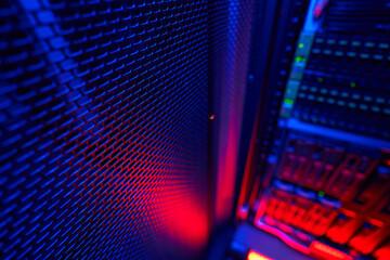 Fototapeta Picture of high tech telecommunications operational super computer in data center obraz