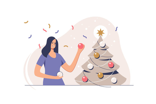 Christmas tree decoration. Smiling woman decorating xmas tree for celebrating merry christmas and happy new year. Preparation for xmas party.  Vector illustration.