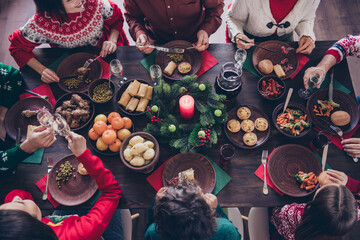 Fototapeta Top above high angle view of big full adorable family meeting eating lunch domestic party served decor table at home indoors obraz