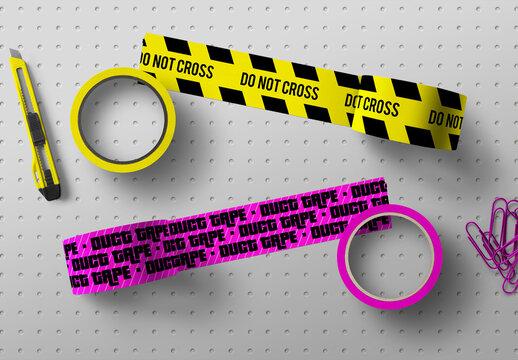 Adhesive Tape Mockup Paper Scene