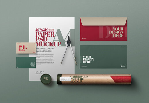 Stationery Mockup with A4 Dl Envelope and Cardboard Tube