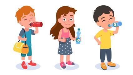 Fototapeta Preschooler drinking girl, boys holding bottles obraz