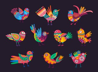 Obraz Mexican birds with colorful ornaments, feathers and tails. Vector alebrije birds, decorated with ethnic pattern of Mexico and floral motif with flowers and leaves. Mexican holiday elements - fototapety do salonu