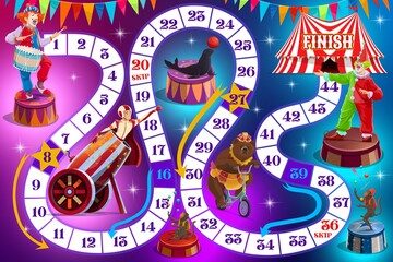 Fototapeta Cartoon circus performers on kids board game. Child playing activities book page. Dice roll and move game, cartoon vector boardgame with top circus animals, clown and human cannonball performer obraz