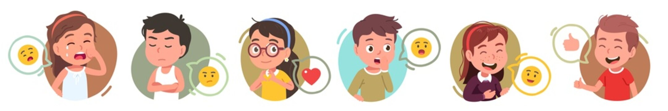 Boys, girls kids gesturing, expressing emotions