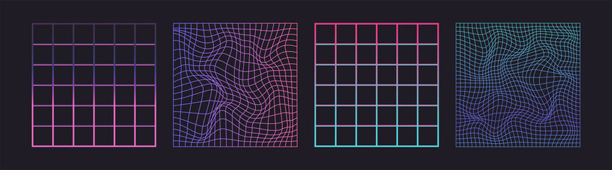 Fototapeta Distorted neon grid pattern. Vector. Abstract glitch background. Set collection. Retro wave, synthwave, rave, vaporwave. Blue, black, pink purple color. Trendy 1980s, 90s style. Print, poster, banner. obraz