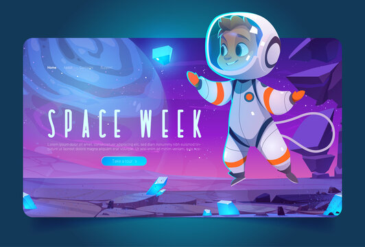 World space week banner with cute spaceman in cosmos. Vector landing page of international event with cartoon illustration of boy astronaut in spacesuit on alien planet
